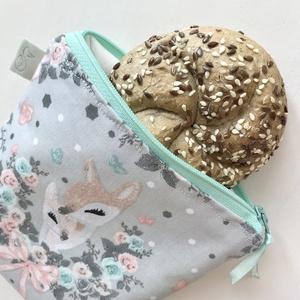 Őzike mintás szendvics vagy uzsonna tartó neszesszer vízálló, lélegző PUL belsővel  - Artiroka design - ovi- és sulikezdés - uzsonna- & ebéd tartó - szendvics csomagoló - Meska.hu