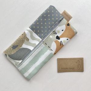 Róka, hód, mackó, bagoly és pingvin mintás pamut textilből készült papírzsebkendő tartó- Artiroka design, Ovi- és sulikezdés, Varrás, Meska