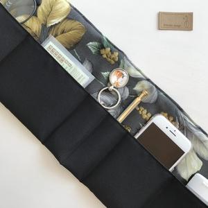 Fekete alapon levél vagy tacskó kutya mintás táskarendező, táskarendszerező -  Artiroka design , Táska & Tok, Kézitáska & válltáska, Belső rendező, Varrás, Meska