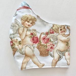 Angyalok és rózsák mintás prémium pamut arcmaszk, szájmaszk, maszk M méretben - Artiroka design, Maszk, Arcmaszk, Női, Varrás, Meska