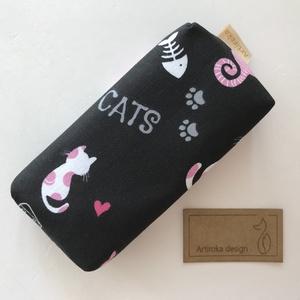 Fekete cica mintás papírzsebkendő tartó - Artiroka design, Szépségápolás, Egészségmegőrzés, Varrás, Meska
