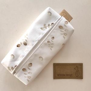 Natúr - bézs leveles virágos papírzsebkendő tartó - Artiroka design, Táska & Tok, Zsebkendőtartó tok, Pénztárca & Más tok, Varrás, Meska