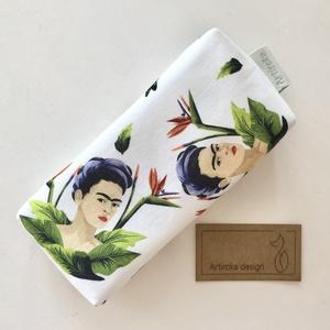 Frida Kahlo  és papagáj virág mintás bélelt papírzsebkendő tartó - Artiroka design, Táska & Tok, Pénztárca & Más tok, Zsebkendőtartó tok, Varrás, Meska