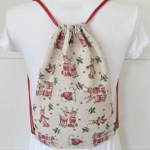 Rudolf a rénszarvas mintás gymbag hátizsák, ajándék zsák mikulásra, karácsonyra  - Artiroka design - Meska.hu