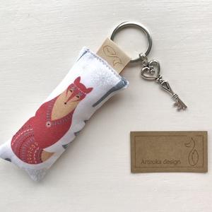 Róka és bagoly mintás prémium karácsonyváró kulcstartó +  vintage kulcs - Artiroka design, Karácsony, Varrás, Ékszerkészítés, Meska