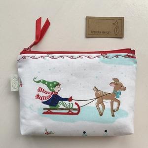Téli örömök mintás, egyedi irattartó pénztárca - szánkó, korcsolya, hóesés - Artiroka design , Karácsony, Varrás, Hímzés, Meska