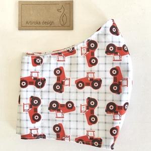 Piros traktor mintás prémium gyerek arcmaszk, szájmaszk - Artiroka design, Ruha & Divat, Varrás, Meska