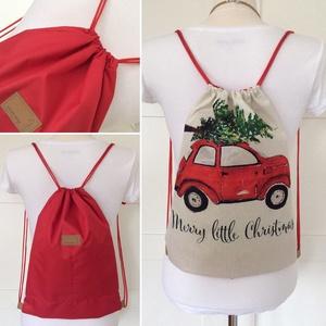 Karácsonyváró - piros autó karácsonyfával gymbag hátizsák- Artiroka design - karácsony - karácsonyi lakásdekoráció - Meska.hu