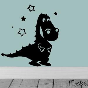 Sárkánysziluett matrica, Dekoráció, Otthon & lakás, Falmatrica, Mindenmás, Fotó, grafika, rajz, illusztráció, Ismered Süsüt, az egyfejű sárkányt? Akkor te is tudod, hogy az egyfejű sárkányok a legkedvesebb sárk..., Meska