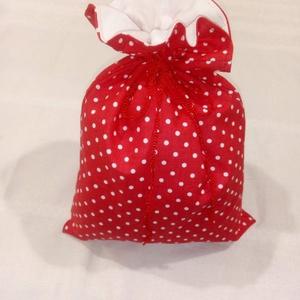 Mikulás / ajándék zsák, Karácsony & Mikulás, Mikulás, Varrás, Dupla pamutvászon zsák pöttyimádóknak, mikulásimádóknak, vagy pöttyös mikulás imádóknak.  Belseje fe..., Meska