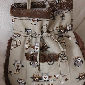 Baglyos táska, Válltáska, Kézitáska & válltáska, Táska & Tok, Varrás, Bagoly kedvelőknek készítettem ezt a vidám összehúzható táskát., Meska