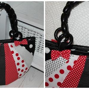 piros  pöttyös táska, Válltáska, Kézitáska & válltáska, Táska & Tok, Varrás, különleges, egyedi vidám táska, zipzáros., Meska