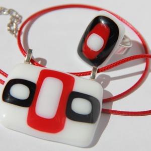 Üvegékszer szett Különleges Hölgyeknek!, Ékszer, Ékszerszett, Fusing technikával készült ez a  saját tervezésű fekete fehér piros medál-gyűrű páros.  Különleges, ..., Meska