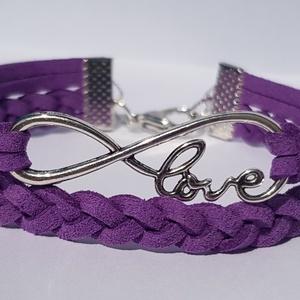 Lila Love karkötő , Fonott & Szövött karkötő, Karkötő, Ékszer, Ékszerkészítés, Love feliratos lila hasított bőr divatos, mutatós karkötő.\nTöbb színben találsz hasonlót a boltomban..., Meska