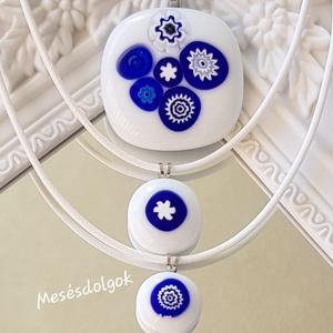 Anya, lánya, unokája medál szett , Ékszer, Medál, Gyerek & játék, Üvegművészet, Fusing technikával készítettem ezt a különleges búzavirág ihlette 3 db-os  üvegmedál szettet , mely ..., Meska