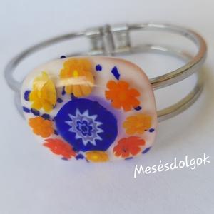 Kék narancs karkötő üvegékszer, Karperec, Karkötő, Ékszer, Üvegművészet, Kék és a narancs színekben tündöklő virágok ihlették meg ezt a saját tervezésű üvegékszer karkötőt.\n..., Meska