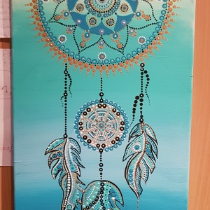 Álomfogó pontmandala kép, Művészet, Festmény, Akril, Festett tárgyak, 70cmx30çm-es vászonra készítettem türkiz, kék, bézs színátmenettel akrilfestékkel alapoztam majd pon..., Meska