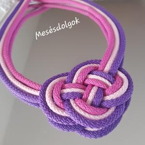 Rózsa lila kelta csomós nyaklánc , Ékszer, Nyaklánc, Fonás (csuhé, gyékény, stb.), Ékszerkészítés, Pamut 5mm-es zsinórokból csomózással készítettem ezt az igen mutatós pink lila árnyalataiban pompázó..., Meska
