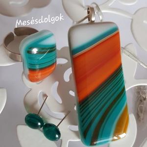 Türkiz narancs márványos üvegékszer szett , Ékszer, Ékszerszett, Üvegművészet, Ékszerkészítés, Üvegolvasztásos technikával különleges színvilágú márványos hatású üvegből készítettem ezt a medálbó..., Meska