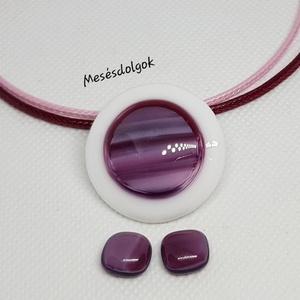 Lila pink márványos üvegékszer medál fülbevalóval, Ékszer, Ékszerszett, Ékszerkészítés, Üvegművészet, Fusing technikával készítettem lila pink márványos diszítéssel fehér alapon. elegáns mutatós üvegéks..., Meska