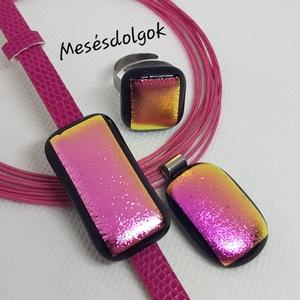 Arany pink ragyogás üvegékszer szett, Ékszer, Ékszerszett, Ékszerkészítés, Üvegművészet, Fusing technikával készítettem aranyból rózsaszínre váltó különleges dichroic üvegből.\nA szett tarta..., Meska