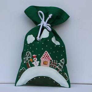 Téli zsákocska, Gyerek & játék, Otthon & lakás, Dekoráció, Ünnepi dekoráció, Karácsony, Ajándékzsák, Varrás, Festett tárgyak, Zsákjaimat Mikulásra illetve Karácsonyra csomagolásnak mindenkinek szeretettel ajánlom.  Egy meglepe..., Meska