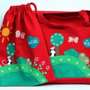 Ovis táska tornazsákkal, Játék & Gyerek, Ovis tornazsák, Ovis zsák & Ovis szett, Erős vászonból varrt táska, amit textilfestékkel festek meg. Táska mérete: 45x41cm, zseb mérete: 26x..., Meska