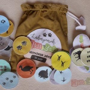 Memóriajáték-textil, Társasjáték & Puzzle, Játék & Gyerek, Társasjáték & Puzzle, Játék & Gyerek, Varrás, Keresd a párját! Melyik állatnak milyen a lábnyoma? Melyik állat sziluettjét látod a képen? Játszva ..., Meska