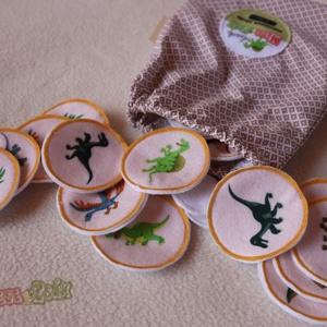 Memóriajáték-textil, Társasjáték & Puzzle, Játék & Gyerek, Társasjáték & Puzzle, Játék & Gyerek, Varrás, 16 pár, 6 cm átmérőjű korongok dinoszaurusz mintával, zsákocskában., Meska
