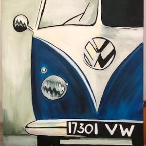Akril festmény VW kisbusz (falikép), Művészet, Akril, Festmény, Kézzel készült akril festmény. Ötletes ajándék lehet vagy saját lakásunk dekorációja is akár. A kép ..., Meska