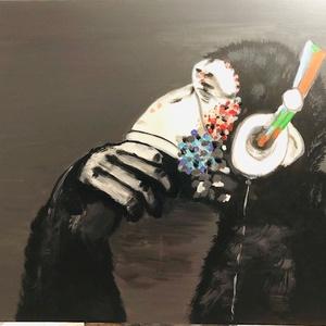 Akril festmény majom (fali kép), Művészet, Akril, Festmény, Akril festmény. Kiváló ajándék vagy saját otthonod dekorációjára alkalmas. Alap méretben 40X50 cm-es..., Meska