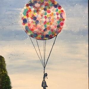 Akril festmény léggömb (fali kép), Otthon & lakás, Dekoráció, Kép, Képzőművészet, Festmény, Akril, Lakberendezés, Falikép, Festészet, Kézzel készült akril festmény. Ötletes ajándék vagy saját lakásod dekorációja is lehet. Alap méretbe..., Meska