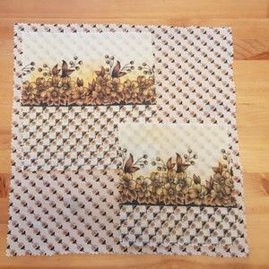 """Méhviaszos kendő: újratextil csomagoló szett - barna virágos \""""M\"""", Szendvics csomagoló, Uzsonna- & Ebéd tartó, Táska & Tok, Mindenmás, Újrahasznosított alapanyagból készült termékek, Újrahasznosított textilből készítettem ezt a méhviaszos csomagoló szettet. \nEzekkel változatosan ki ..., Meska"""