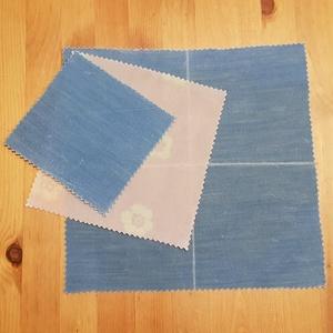 """Méhviaszos kendő: újratextil csomagoló szett - kék - rózsaszín \""""S\"""", NoWaste, Textilek, Textil tároló, Otthon & lakás, Konyhafelszerelés, Mindenmás, Újrahasznosított alapanyagból készült termékek, Újrahasznosított textilből készítettem ezt kisebb méretű a méhviaszos csomagoló szettet. \nEzekkel vá..., Meska"""