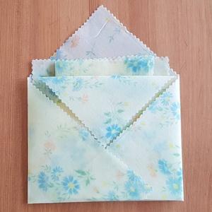 """Méhviaszos kendő: újratextil csomagoló szett - Kék virágos \""""M\"""", NoWaste, Textilek, Textil tároló, Otthon & lakás, Konyhafelszerelés, Mindenmás, Újrahasznosított alapanyagból készült termékek, Újrahasznosított textilből készítettem ezt a méhviaszos csomagoló szettet. \nEzekkel változatosan ki ..., Meska"""