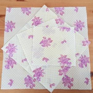 Méhviaszos kendő: újratextil csomagoló szett - rózsás, Szendvics csomagoló, Uzsonna- & Ebéd tartó, Táska & Tok, Mindenmás, Újrahasznosított alapanyagból készült termékek, Újrahasznosított textilből készítettem ezt a méhviaszos csomagoló szettet. \nEzekkel változatosan ki ..., Meska