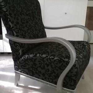 Art Deco fotel, fekete-ezüst színben, Otthon & lakás, Bútor, Szék, fotel, Lakberendezés, Festett tárgyak, Varrás, Kecses formájú, teljes körűen felújított art deco fotel. Puha rugózásű, süppedős darab. Gyönyörű, ez..., Meska