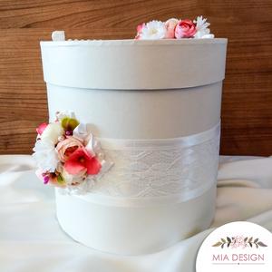Romantikus csipke díszítéses esküvői pénzgyűjtő doboz, Nászajándék, Emlék & Ajándék, Esküvő, Mindenmás, Virágkötés, EGYEDI ESKÜVŐI PÉNZGYŰJTŐ DOBOZT KERESTEK? \nEz a különleges selyemvirágokkal és habrózsákkal díszíte..., Meska