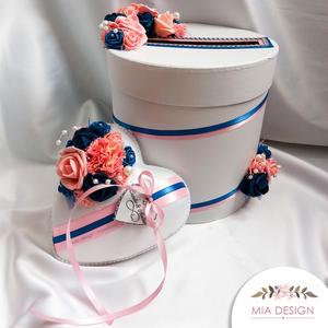 Különleges kék-rózsaszín esküvői pénzgyűjtő doboz, Nászajándék, Emlék & Ajándék, Esküvő, Mindenmás, Virágkötés, EGYEDI ESKÜVŐI PÉNZGYŰJTŐ DOBOZT KERESTEK? \nEz a különleges színvilágúkék-rózsaszín habrózsákkal, gy..., Meska