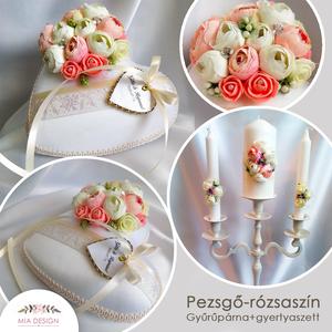 Pezsgő-rózsaszín gyűrűpárna+gyertyaszett, Gyűrűtartó & Gyűrűpárna, Kiegészítők, Esküvő, Hímzés, Varrás, Egyedi gyűrűpárna és gyertyaszett pezsgő-rózsaszín színvilágban, művirágokkal, és dísztűkkel, pezsgő..., Meska