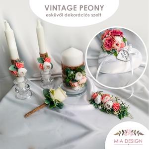 Vintage peony esküvői szett, Kiegészítők, Esküvő, Hímzés, Varrás, Egyedi gyűrűpárna+gyertyaszett+vőlegénykitűző+hajdísz vintage stílusú peony és művirág dekorral! \nA ..., Meska