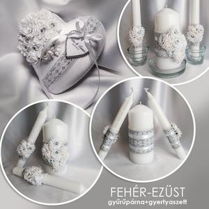 Fehér-ezüst esküvői szett, Gyűrűtartó & Gyűrűpárna, Kiegészítők, Esküvő, Hímzés, Varrás, Egyedi fehér-ezüst gyűrűpárna, és gyertyaszett!\n\nSZETT LEÍRÁSA:\nA szett fehér 2 cm méretű habrózsák,..., Meska