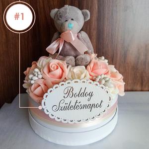 Kislány babaváró/születésnapi /köszönő meglepetés virágbox , Játék & Gyerek, Babalátogató ajándékcsomag, Virágkötés, Varrás, ÚJ CSALÁDTAG ÉRKEZIK a családba, a barátnőd, rokonod családjába? Születésnapozik valaki a családban?..., Meska