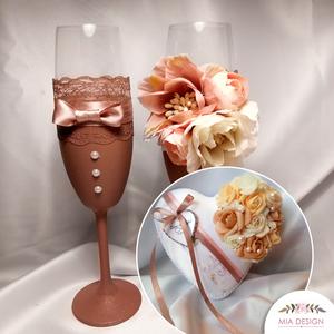 Capuccino Crema esküvői gyűrűpárna+pezsgőspohár szett, Esküvő, Esküvői szett, Varrás, Virágkötés, Egyedi, capuccino színvilágú GYŰRŰPÁRNA ÉS PEZSGŐSPOHÁR SZETT!\nA pezsgőspoharak több rétegben capucc..., Meska