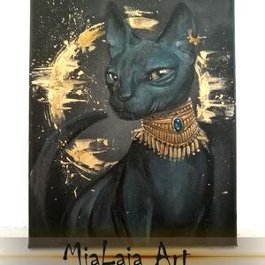 Bastet, Képzőművészet, Festmény, Olajfestmény, Festészet, Bastet, az egyiptomi macskaistennő, az otthon, a háztartás, a női titok, a termékenység, a születés..., Meska