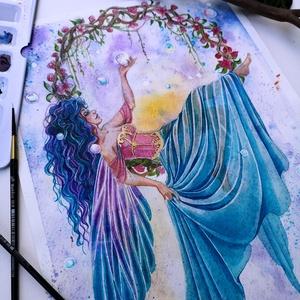 Virághinta akvarell festmény , Akvarell, Festmény, Művészet, Festészet, A tavasz első kellemes szellője ringatja az illatos virágkoszorút, ami egy töndér kedvenc pihenőhely..., Meska