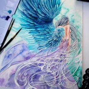 Azúrlélek , Otthon & lakás, Képzőművészet, Dekoráció, Festészet, Az azúrlelkű angyal lágy aurája és szelleme\n\n34x22es akvarell festmény, Meska