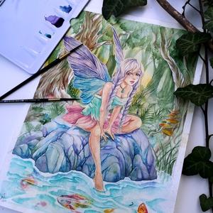 Egy kis tündérmese festmény, Akvarell, Festmény, Művészet, Festészet, Egy tündérmese első lapja. Vajon mi lehet a teljes mese? \n\n24x32 cm akvarell festmény, Meska