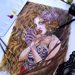 A vadóc hercegnő, Otthon & lakás, Képzőművészet, Dekoráció, Festészet, A szenvedélyes és vad pünkösdi rózsa hercegnő. Sosem követi a szabályokat sem a törvényt, de akár vá..., Meska