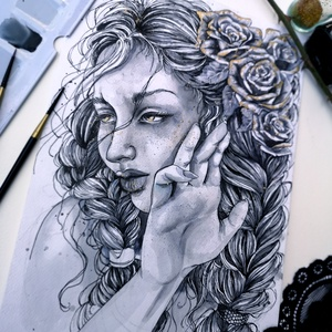 A szürke rózsa, Otthon & lakás, Képzőművészet, Dekoráció, Festészet, A fáradt rózsa, aki a megannyi gond közepette is virágzik és szürke színeiben mégis ott csillan az a..., Meska